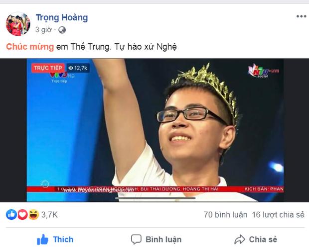 Trọng Hoàng, Xuân Mạnh bày tỏ niềm tự hào khi chứng kiến thí sinh người Nghệ An đoạt ngôi quán quân Olympia 2019 - Ảnh 1.