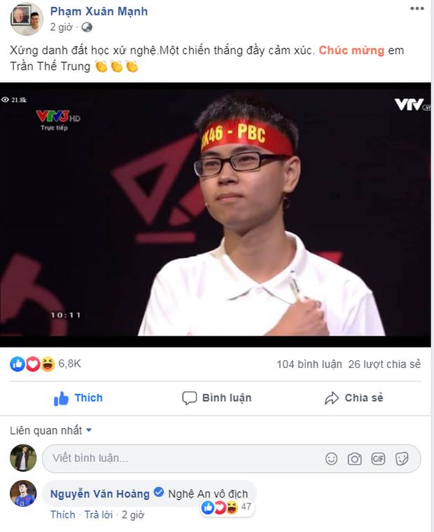 Trọng Hoàng, Xuân Mạnh bày tỏ niềm tự hào khi chứng kiến thí sinh người Nghệ An đoạt ngôi quán quân Olympia 2019 - Ảnh 2.