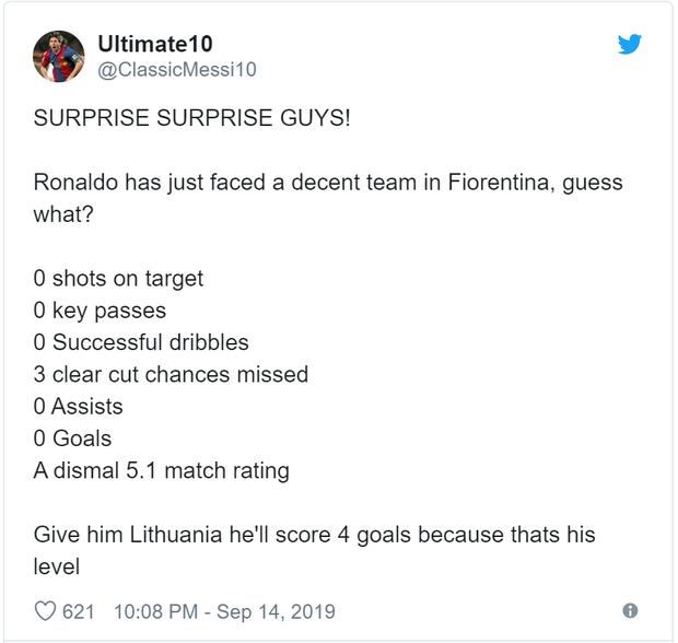 Ronaldo nhận về cơn mưa chỉ trích và mỉa mai sau thống kê toàn số 0 ở trận đấu với Fiorentina - Ảnh 2.