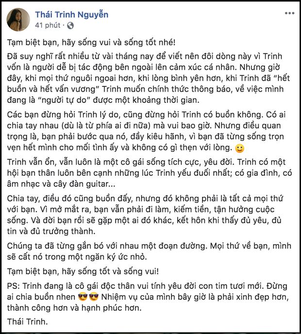 Thái Trinh xác nhận đã chia tay Quang Đăng sau hơn 2 năm mặn nồng - Ảnh 2.