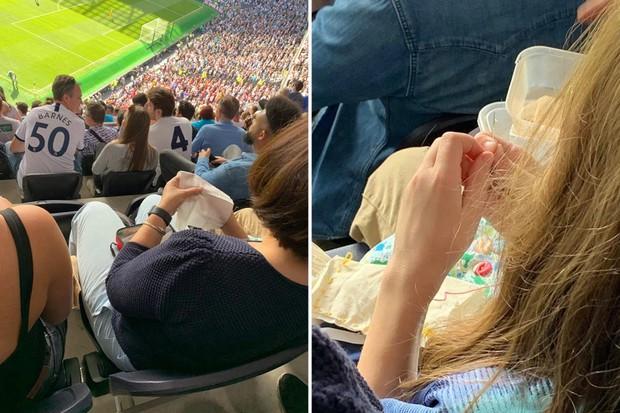 Góc một công đôi việc: Fan nữ đi xem đội bóng của Son Heung-min thi đấu mang theo cả kim chỉ, hồn nhiên ngồi trên khán đài khâu vá - Ảnh 1.