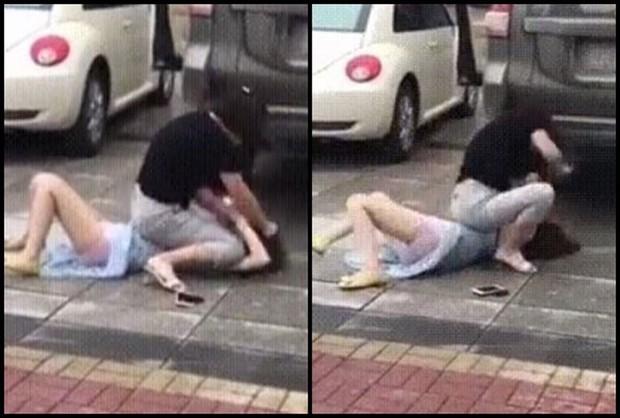Bất ngờ gặp tiểu tam đi trên đường, vợ lao vào đánh ghen khiến dân mạng khiếp sợ - Ảnh 4.