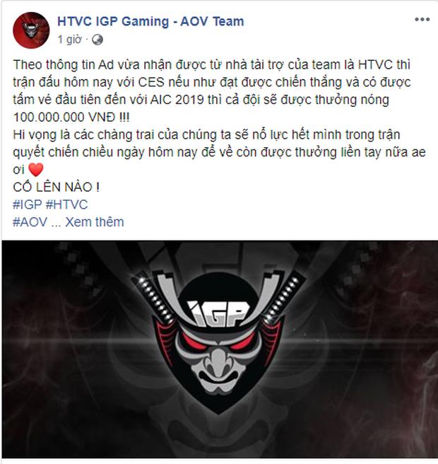 Được hứa thưởng nóng 100 triệu đồng nếu giành vé đi AIC, IGP Gaming thêm động lực đánh bại đội áp chót BXH - Ảnh 1.