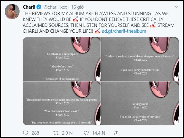 """Thánh tự luyến Charli XCX: Hết xưng là """"đấng cứu thế"""" của nền nhạc Pop, giờ lại tự khen ngất trời album của chính mình - Ảnh 6."""
