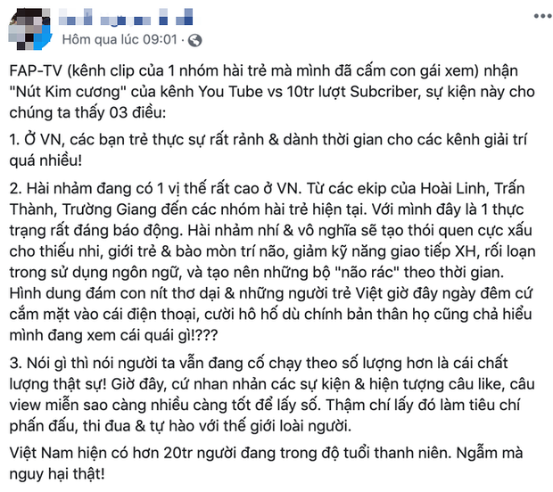 Toàn cảnh đại chiến giữa FAPTV và antifan khi bị nhận xét hài nhảm mà cũng nhận nút kim cương, Cris Phan liền góp mặt vào drama này! - Ảnh 1.