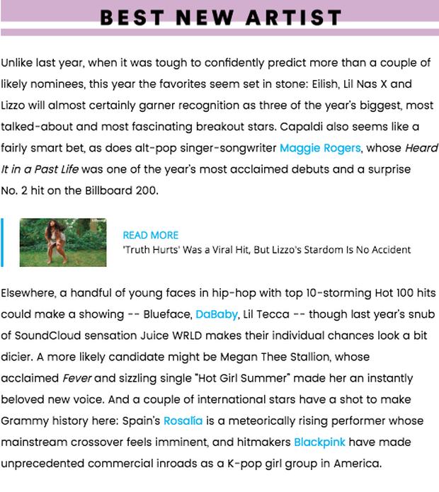 Billboard dự đoán BLACKPINK có khả năng được đề cử tại Grammy 2020, BTS bỗng lặn mất tăm? - Ảnh 3.