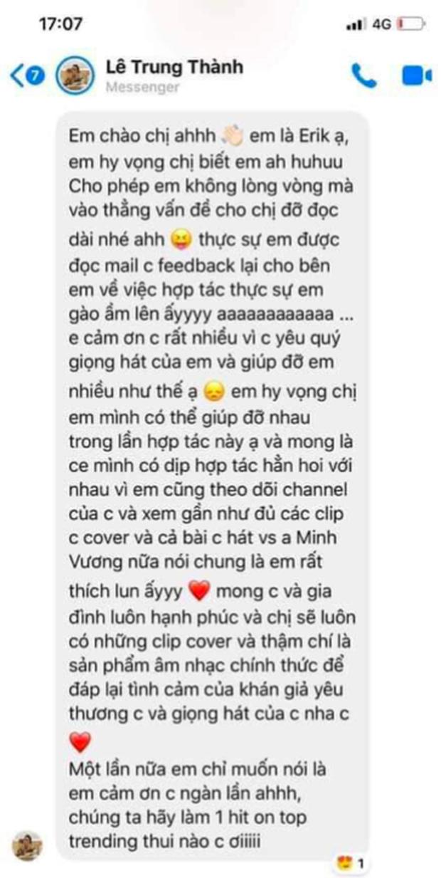 Ồn ào cực căng: Bị lên án cover kiếm tiền bài hát nghệ sĩ mới phát hành vài ngày, đại diện Hương Ly tiết lộ tin nhắn của Erik gây hoang mang - Ảnh 7.