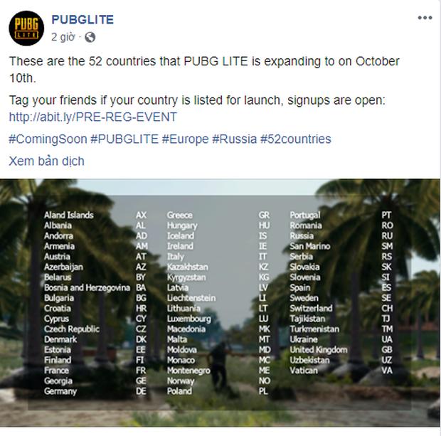 PUBG Lite cho trải nghiệm tại hàng chục quốc gia: Có Lào, có Campuchia nhưng Việt Nam lại ngoài vùng phủ sóng - Ảnh 1.