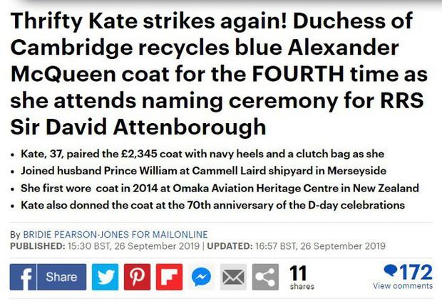 Tâng bốc quá đà công nương Kate Middleton khi mặc lại đồ cũ, báo Anh bị dân tình dập tơi tả - Ảnh 3.