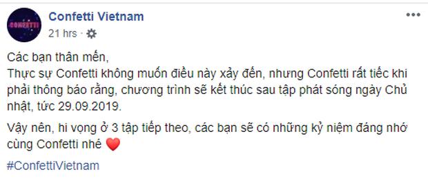 Confetti Vietnam chính thức nói lời chia tay khán giả vào ngày 29/09/2019 - Ảnh 5.