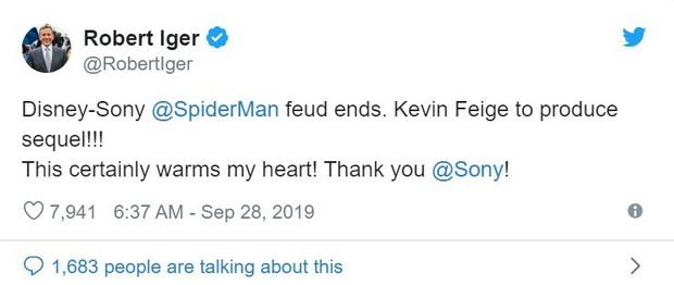 Spider-Man về lại với mẹ đẻ Marvel, chủ tịch Disney hí hửng tuyên bố chấm dứt mối thù với Sony! - Ảnh 2.