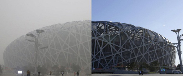 Tấm ảnh ấn tượng về SVĐ Tổ chim cùng báo cáo nghiên cứu mới cho thấy chất lượng không khí Bắc Kinh đã thay đổi mạnh mẽ nhường nào - Ảnh 1.