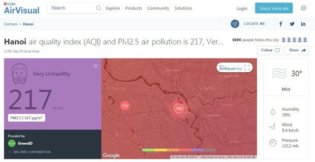 Cảnh báo Hà Nội ô nhiễm ở mức tím từ sáng sớm, khuyến cáo người dân hạn chế ra đường - Ảnh 1.