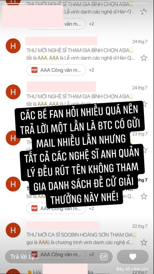Sau Sơn Tùng M-TP, đến lượt Tóc Tiên, Soobin Hoàng Sơn, Gin Tuấn Kiệt đồng loạt xác nhận không tham gia AAA 2019! - Ảnh 1.