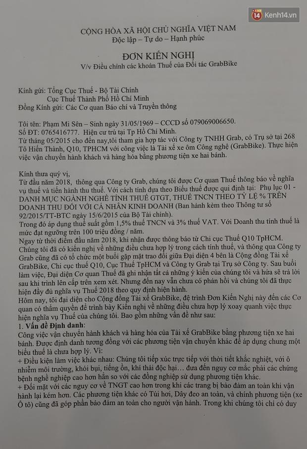 Tài xế GrabBike ở Sài Gòn làm đơn kiến nghị thay đổi định danh ngành nghề để giảm thuế TNCN - Ảnh 5.