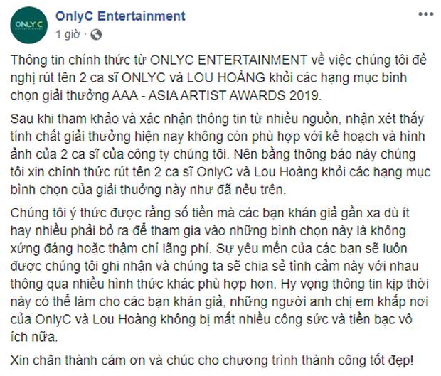 Thêm Only C, Lou Hoàng, Min và loạt ca sĩ rút tên khỏi đề cử, BTC AAA 2019 quyết định hủy bỏ hạng mục của nghệ sĩ Việt! - Ảnh 2.