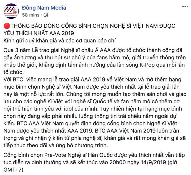 Thêm Only C, Lou Hoàng, Min và loạt ca sĩ rút tên khỏi đề cử, BTC AAA 2019 quyết định hủy bỏ hạng mục của nghệ sĩ Việt! - Ảnh 4.