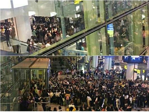 Báo chí và fan quốc tế sốc trước cảnh Sehun - Chanyeol (EXO) méo mó, bị bóp nghẹt vì biển fan đông nghẹt thở ở Nội Bài - Ảnh 5.