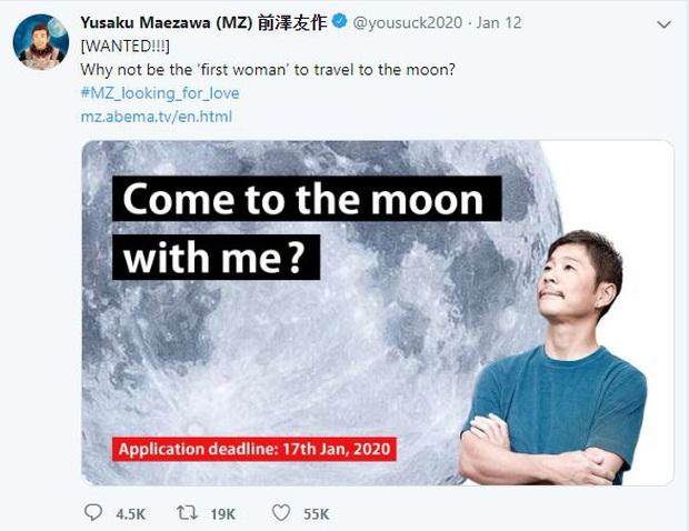 Tỷ phú Nhật 44 tuổi bao trọn chuyến bay đầu tiên lên mặt trăng của Elon Musk, tuyển bạn gái đi cùng với yêu cầu cực đơn giản - Ảnh 1.