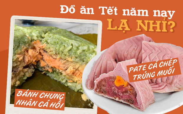 Từ bánh chưng trà xanh cá hồi cho đến pate cá chép trứng muối: Thị trường đồ ăn Tết năm nay gây hoang mang quá mà! - Ảnh 1.
