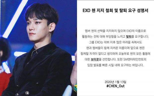 Fan Hàn hùng hổ biểu tình đòi Chen rời EXO, ai dè chỉ vài mống đến dự trong khi fan quốc tế liên tục đòi giữ nhóm 9 người - Ảnh 1.