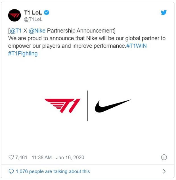 Đội tuyển eSports T1 chính thức trở thành đối tác toàn cầu của Nike, Faker sẽ vào vai đại sứ - Ảnh 1.