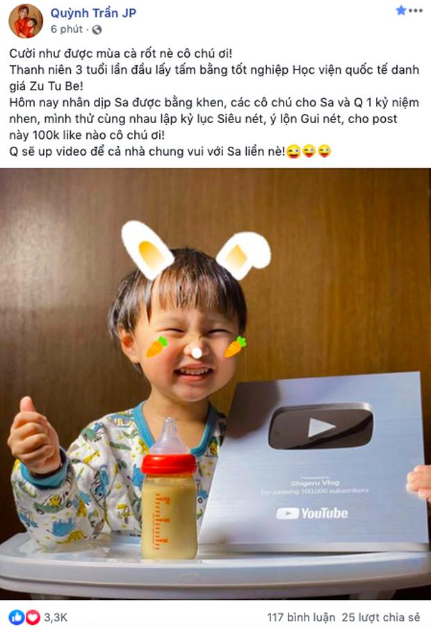 Bỏ qua lùm xùm về kênh YouTube triệu subs, Quỳnh Trần JP đón tin vui mới khi kênh của bé Sa vừa chính thức ẵm nút Bạc - Ảnh 3.