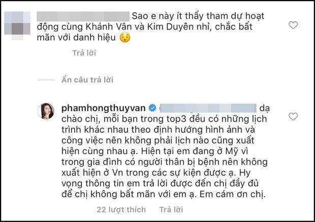 Á hậu Thúy Vân phản pháo khi bị nói thường xuyên không tham gia hoạt động cùng Khánh Vân và Kim Duyên vì bất mãn danh hiệu  - Ảnh 1.