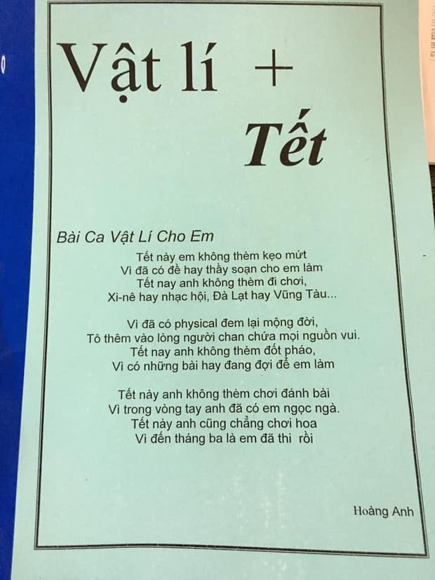 Thầy giáo Vật Lý sáng tác hẳn bài hát siêu lầy lội cổ vũ tinh thần học trò những ngày Tết đến xuân về - Ảnh 1.