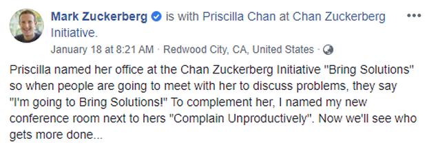 Hiếm lắm mới thấy vợ chồng Mark Zuckerberg công khai cà khịa nhau, chỉ những người não to đọc mới hiểu - Ảnh 1.