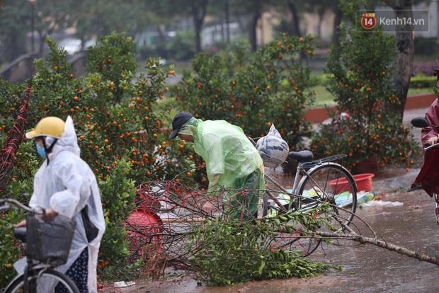 Mưa gió chiều 30, dân buôn đào quất bỏ cây chạy lấy người khiến chợ hoa hồ Đền Lừ ngập rác - Ảnh 4.