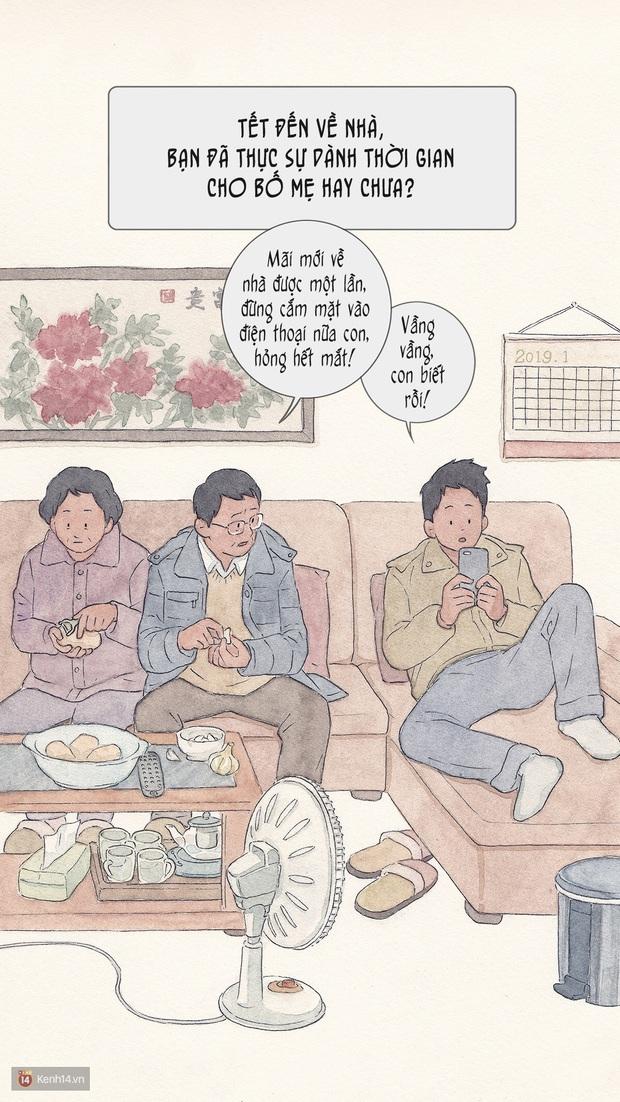 Bộ tranh: Đã về nhà ăn Tết thì hãy dành thời gian bên bố mẹ, tạm tha cho cái điện thoại đi - Ảnh 1.