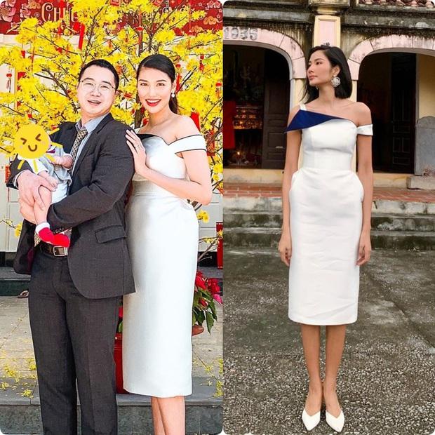 Pha đụng hàng mùng 1 Tết từ 2 miền xa lắc: Hoàng Thùy - Lan Khuê cùng diện đầm lệch vai, nhưng 1 người mất điểm vì chưa là váy - Ảnh 5.