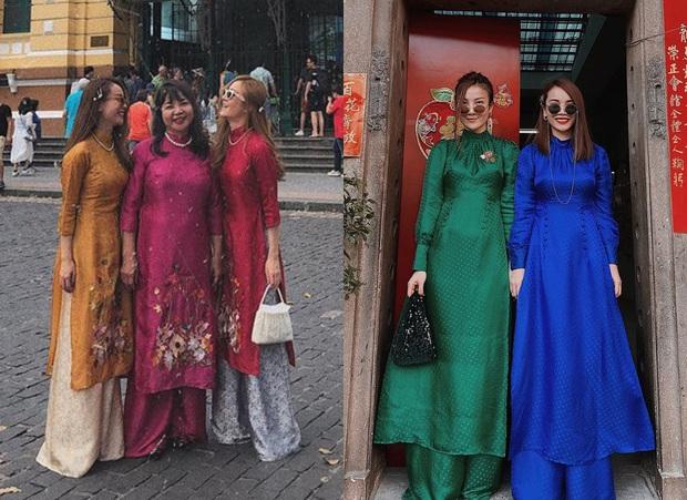 Style áo dài Tết của sao Việt năm ngoái – năm nay: Người thay đổi in ít, người diện màu y chang năm cũ - Ảnh 6.