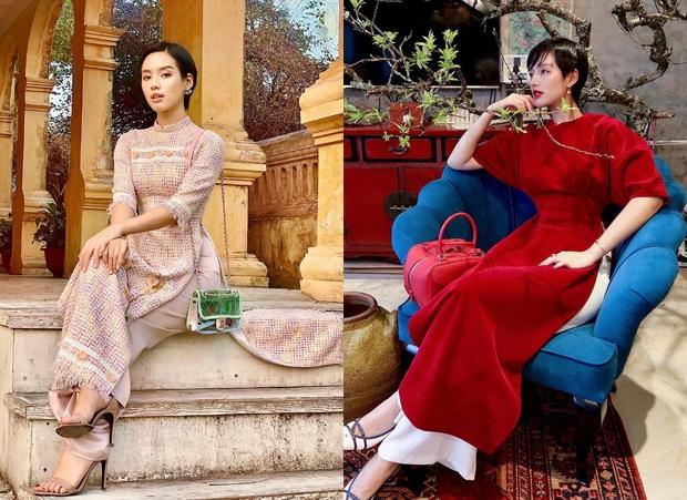 Style áo dài Tết của sao Việt năm ngoái – năm nay: Người thay đổi in ít, người diện màu y chang năm cũ - Ảnh 3.