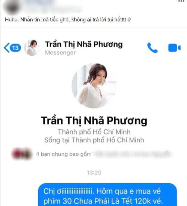 Nhắn tin đòi Nhã Phương hoàn tiền vé 30 Chưa Phải Tết, netizen tranh cãi nảy lửa - Ảnh 2.
