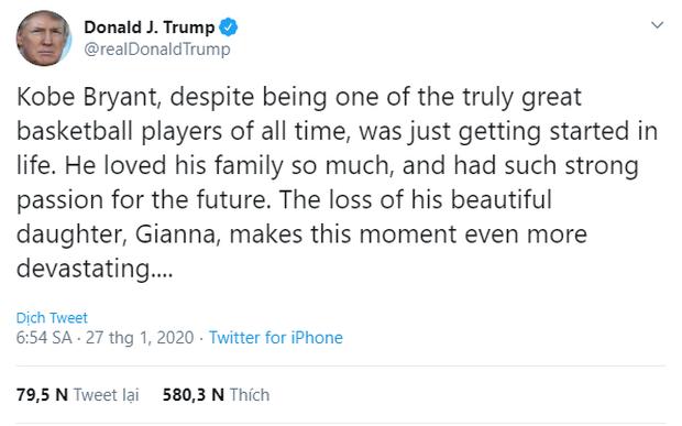 Viết lời tưởng nhớ Kobe Bryant lên mạng xã hội, Tổng thống Donald Trump bị nghi đạo nhái status của Obama - Ảnh 1.