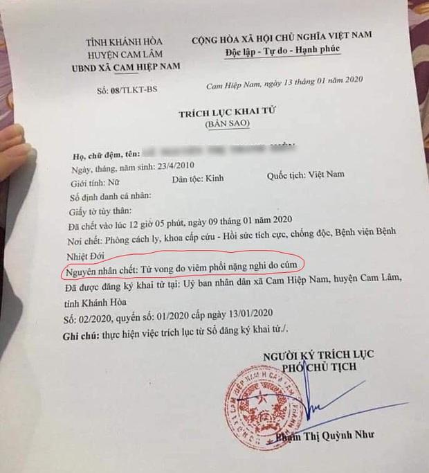 Bé gái 10 tuổi tử vong vì bệnh cúm ở Khánh Hòa không phải do virus corona - Ảnh 1.