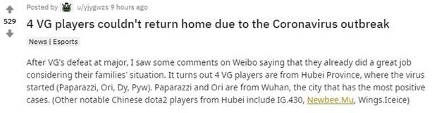 Đắng lòng game thủ chuyên nghiệp Trung Quốc: Đã thua giải còn chả được về quê ăn Tết vì Virus Corona - Ảnh 3.