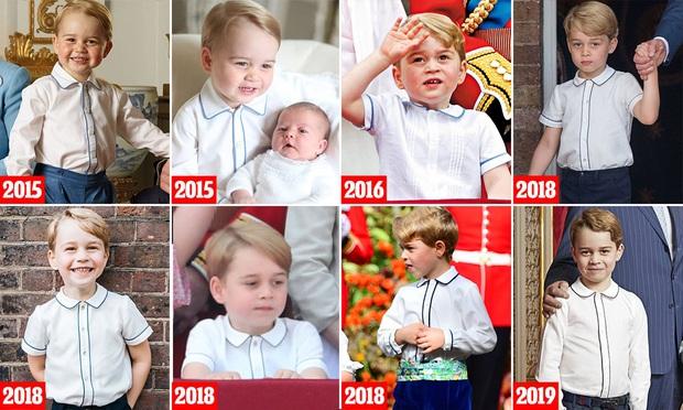 Soi lại hình cũ hình mới của Hoàng tử George, fan hí hửng phát hiện cậu bé chỉ mặc độc một kiểu áo trong các sự kiện trang trọng - Ảnh 2.