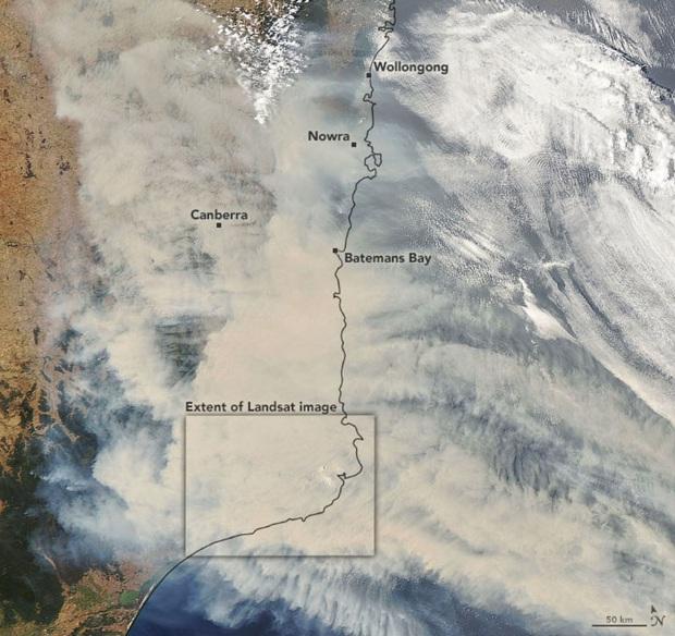 Đại thảm họa cháy rừng Úc nhìn từ không gian: Cả nước như quả cầu lửa, những mảng xanh trù phú bị thay bằng màu khói trắng tang thương - Ảnh 2.