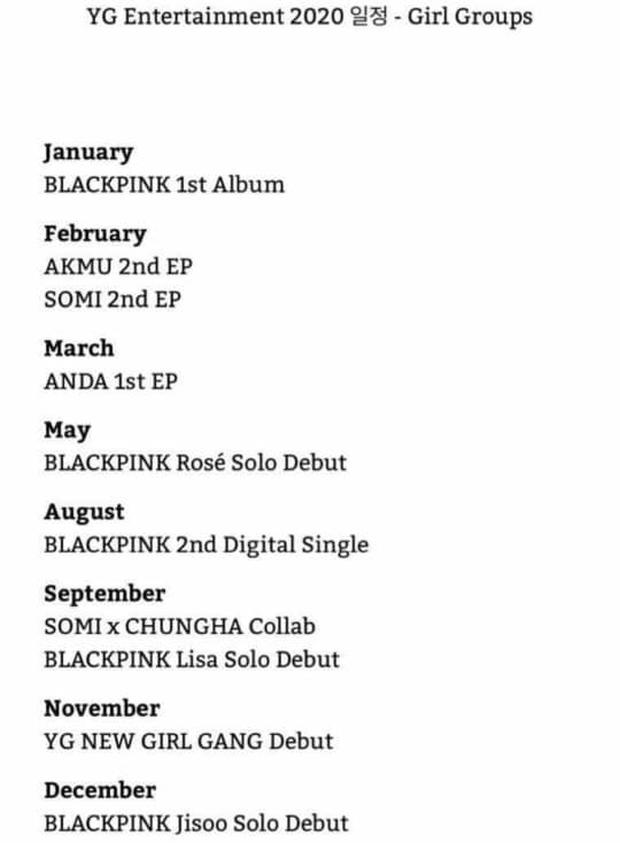 Lan truyền lịch trình nhà YG 2020: BLACKPINK có full album, Somi kết hợp Chungha đủ kiểu nhưng nhìn qua thôi cũng biết là ảo tưởng!? - Ảnh 1.