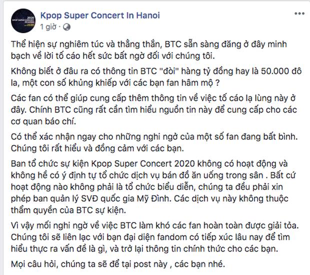 Bị tố cáo đòi 1 tỷ đồng mới cho fan EXO-SC làm xe tải đồ ăn, BTC Kpop Super Concert 2020 lên tiếng: Đây là những thông tin xuất hiện với mục đích xấu cho chương trình - Ảnh 3.