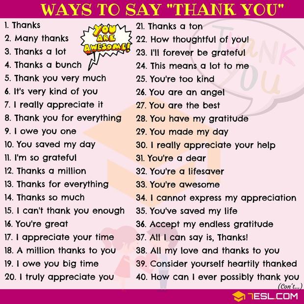 """Muốn cảm ơn ai đó hạn chế dùng """"Thank You"""" vì Tiếng Anh còn có 65 cách nói khác tuyệt vời hơn đấy! - Ảnh 2."""