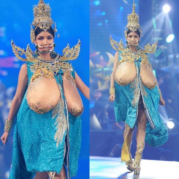 Trang phục dân tộc gây tranh cãi nhất lịch sử các cuộc thi: Sốc nhất là bầu ngực giả lộ thiên của Miss Universe Thailand 2020 - Ảnh 1.