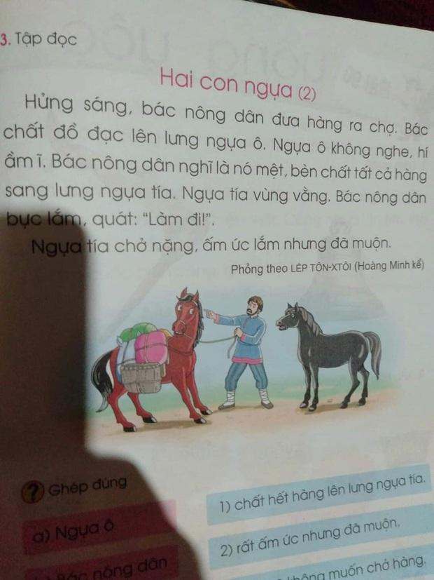 SGK lớp 1 lại gây tranh cãi: Ngựa tía bày ngựa ô trốn việc khi bị giục làm, cò mưu mẹo chén hết đàn cá một mình - Ảnh 2.