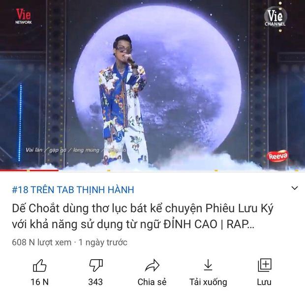 Dế Choắt là thí sinh duy nhất ở tập 11 Rap Việt lọt top trending YouTube, vậy đã đủ thịnh hành chưa? - Ảnh 5.