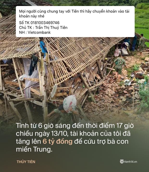 Phỏng vấn nóng Thuỷ Tiên đến Huế cứu trợ miền Trung: Đã kêu gọi được hơn 8 tỷ, bán hết hột xoàn làm từ thiện và chưa kịp báo chồng - Ảnh 3.