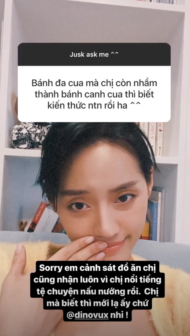 Khánh Linh bị cảnh sát đồ ăn thưa chuyện vì nhầm bánh đa cua thành bánh canh cua, Vũ Dino liền vào cà khịa - Ảnh 1.
