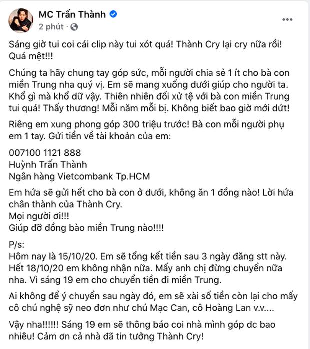 Tiếp bước Thuỷ Tiên, MC Trấn Thành xung phong đóng góp 300 triệu đồng, kêu gọi và quyết định đến miền Trung cứu trợ - Ảnh 2.